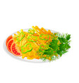 french fries with salad and tomatoes vector image vector image