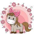 greeting card cute horse with flowers vector image vector image