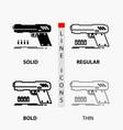 gun handgun pistol shooter weapon icon in thin vector image