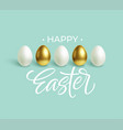happy easter festive blue background with gold vector image vector image