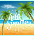 hello summer summer time the poster against the vector image