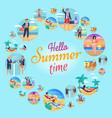 hello summer time circular vector image vector image