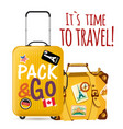 its time to travel baggage background image vector image