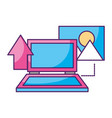 laptop upload picture data storage vector image vector image