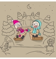 Lovers girl and boy on a sled vector image vector image