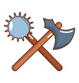 medieval battle ax and mace icon cartoon style vector image vector image