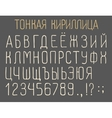 Narrow cyrillic font vector image