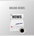 online news with shadow on grey background vector image
