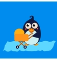 Penguin Mom and Baby in Stroller vector image vector image