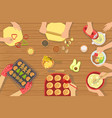 people cooking pastry and other food together view vector image vector image