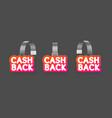 realistic detailed 3d wobbler cash back labels set vector image vector image