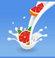 ripe grapefruit in a milk splash or yogurt vector image vector image