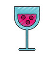 scribble cartoon glass wine vector image vector image