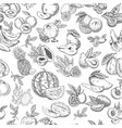 seamless pattern background of sketched fruits vector image