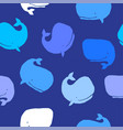 seamless pattern whales colorful whales blue vector image