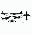 set airplane silhouette or various black vector image