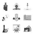 set of business icons and symbols in trendy flat vector image vector image