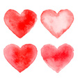 Set of Colorful Red Watercolor Hearts vector image