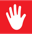 stop hand icon palm hand vector image