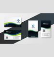stylish wavy company business card modern vector image vector image