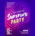 summer party flyer palm leaf in background vector image vector image