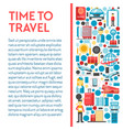 time to travel banner with airport and flight vector image