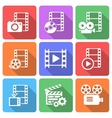 Trendy flat film icon pack vector image