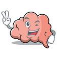 two finger brain character cartoon mascot vector image vector image