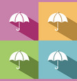 umbrella icon with shade on colored background vector image vector image