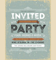 vintage invitation sign vector image vector image