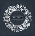vintage wreath design with nuts sketches on vector image