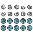water wave logo design set vector image vector image