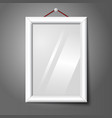 white isolated vertical photo frame hanging on the vector image vector image