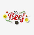 word beef design with fresh raw beef and spices vector image vector image