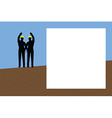 worker silhouette with yellow protective headgear vector image