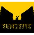 Black raven on yellow background Big Bird Spread vector image