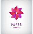 abstract origami 3d flower logo use vector image