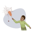 African american man tries to remove spider net vector image vector image