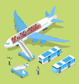 aircraft interior with passengers isometric vector image vector image