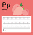 alphabet p worksheet learning english vocabulary vector image vector image