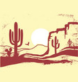 american desert with cactuses and sun vintage of vector image