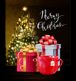 background with christmas tea vector image vector image
