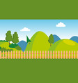 backyard wooden fence cartoon lawn vector image