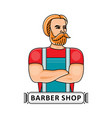 barbershop logo with handsome hipster barber vector image