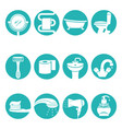 bathroom necessary elements in round logo signs vector image
