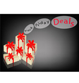 Beautiful Gift Boxes on Black Friday Background vector image