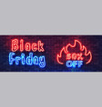 black friday sale neon colorful banner fiery vector image