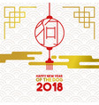 chinese new year 2018 gold paper lantern card vector image