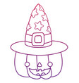 degraded outline happy pumpkin with witch hat vector image