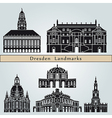 Dresden landmarks and monuments vector image vector image